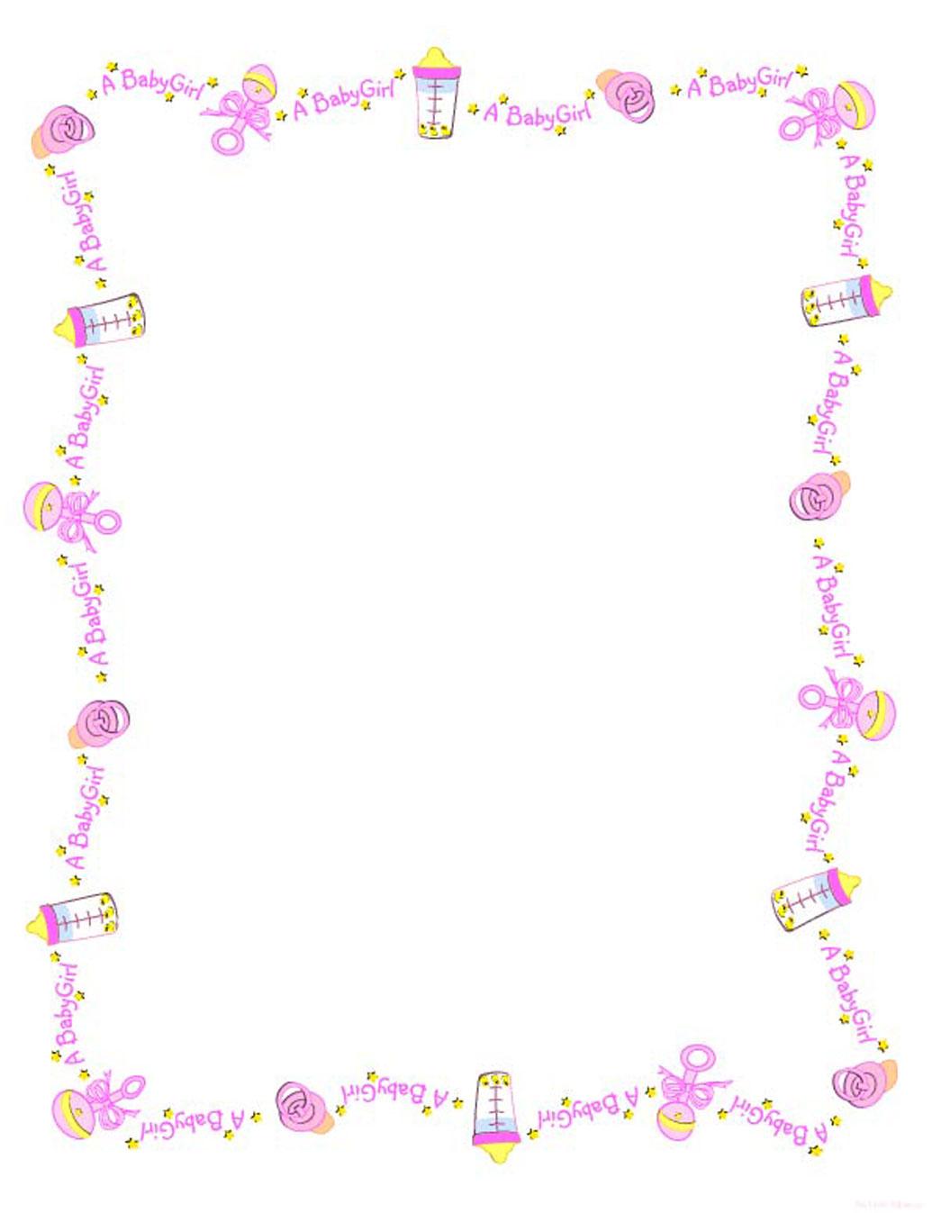 Printable Baby Girl Borders Download JPEGBaby Girl Borders